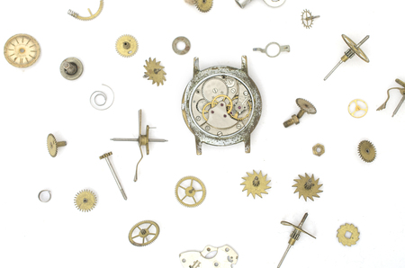 texture of the old mechanical details and clocks Stock Photo