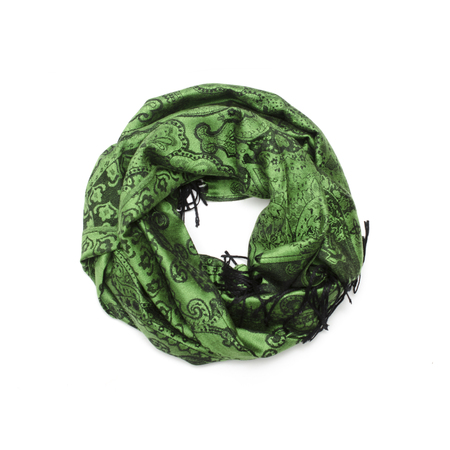 green scarf with black pattern isolated on white