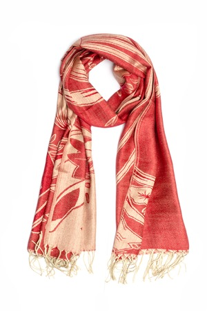 red and gold womens scarf with pattern isolated on white