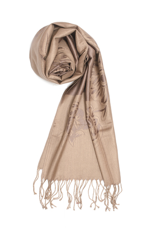 beige womens scarf isolated on white