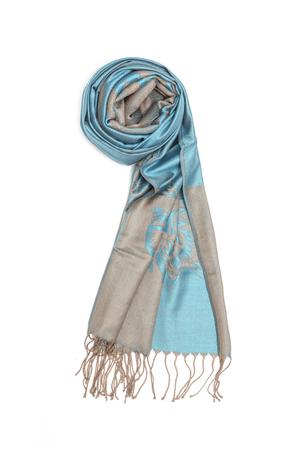 robo: bufanda azul de las mujeres con el patrón aislado en blanco Foto de archivo