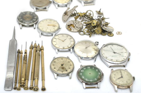 texture of the old mechanical details, wrist watch and tools Stock Photo