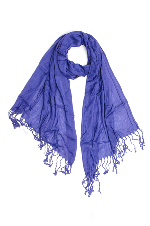 womens blue scarf isolated on white Stock Photo