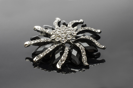 onyx: brooch flower with gems stones isolated