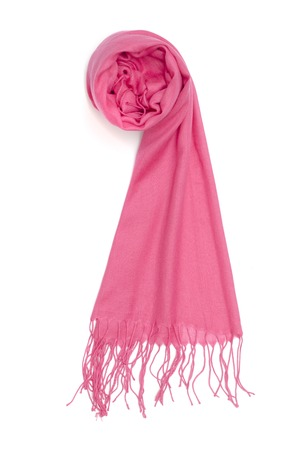 women's pink scarf isolated on white