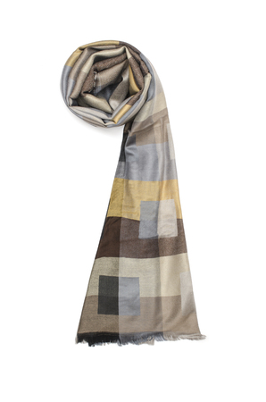 color womens scarf with pattern isolated on white Stock Photo