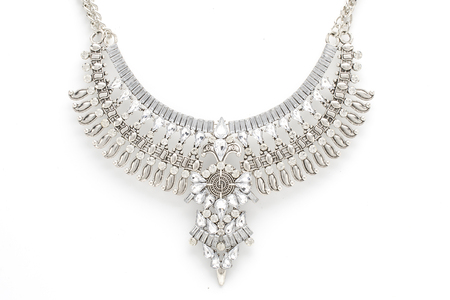 Vintage necklace in Boho style with diamonds isolated on white