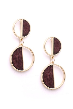 gold earrings with wooden insets, isolated on white