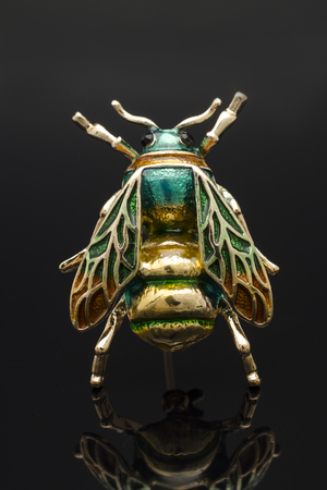 gold brooch enamel bee isolated on black