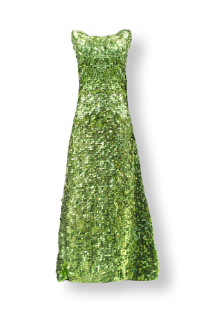 green long dress with paillettes isolated on white Banque d'images
