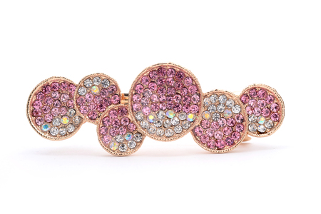 brooch with pink gems and circles isolated on white 스톡 콘텐츠