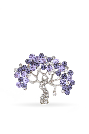 silver brooch tree with gems isolated on white 스톡 콘텐츠