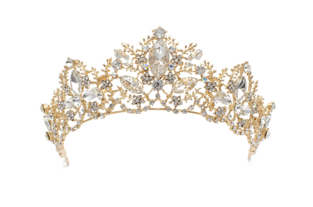 golden diadem with diamonds isolated on white