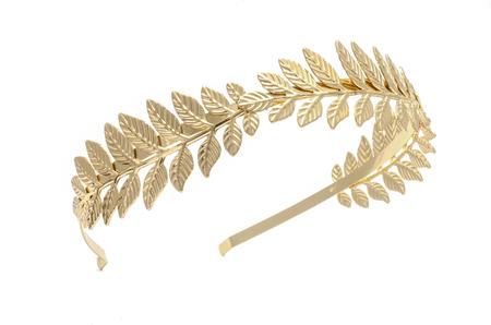 gouden lauwerkrans hoofdband geïsoleerd op wit Stockfoto