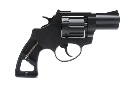black revolver on white