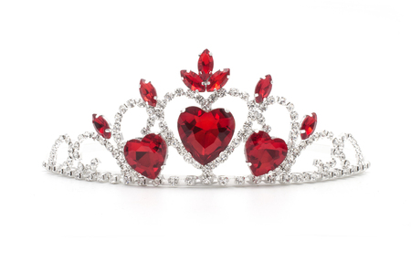 silver crown with hearts, rubies and diamonds isolated on white