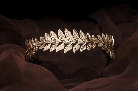 golden laurel wreath headband isolated on the fabric Stockfoto