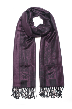 purple women's scarf with pattern isolated on white