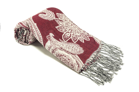 women's scarf with red pattern isolated on white