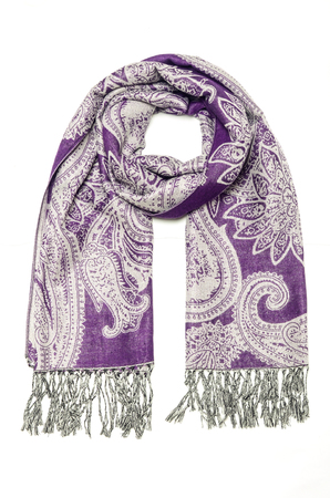 f05902b6d purple women's scarf with pattern isolated on white Stock Photo - 118681635