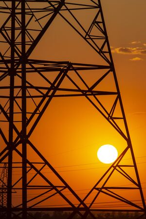 sunset on the background of power lines Standard-Bild