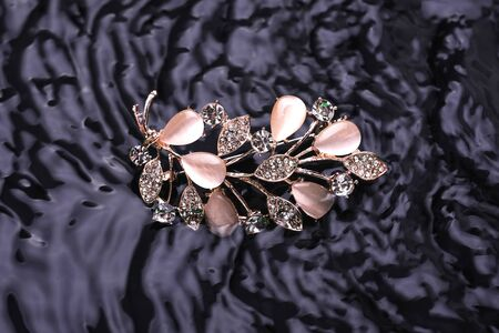 golden brooch twig with moonstones and diamonds in the water Archivio Fotografico
