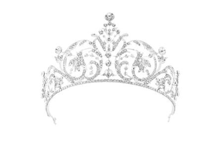 silver tiara with diamonds on white background