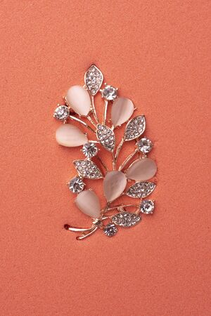 golden brooch twig with moonstones and diamonds on the pink sand