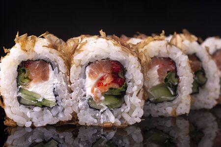 Japanese Sushi Rolls with Cream Cheese , flying fish roe and eel shavings