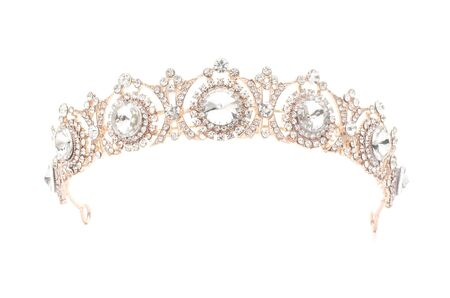 golden tiara with diamonds on a white background Banque d'images