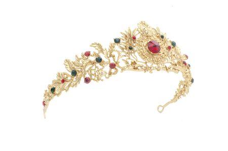 golden crown with rubies  on a white background