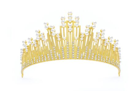 golden tiara with pearls and diamonds isolated on white