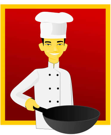 Smiling asian cook with pan on red background