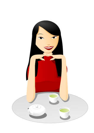 Drinking tea with beautiful asian girl Vector