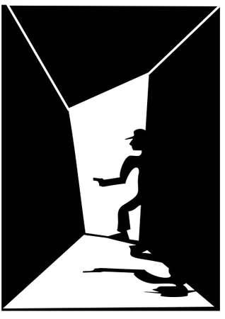gangster with gun: Gangster y negro la silueta whiete