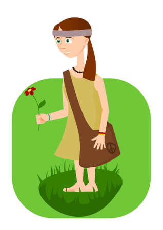 and barefoot: Hippie girl with flower in hand Illustration