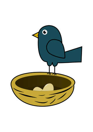 Blue bird in nest Vector
