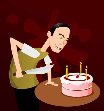 ready to cut: Man with big knife ready to cut a cake Illustration