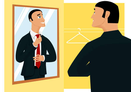 reflection in mirror: Smiling businessman prepearing for new working day in front of mirror