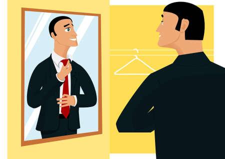 Sonriendo prepearing hombre de negocios para el nuevo día de trabajo frente al espejo