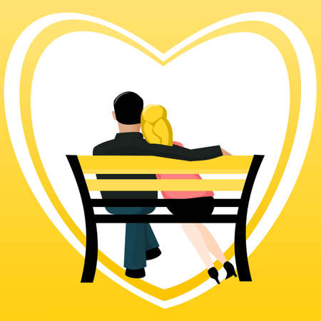 Couple on a bench Vector