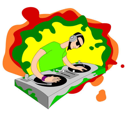 Cartoon acid DJ on set Vector