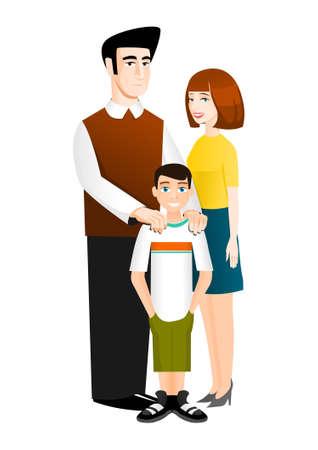genitore figlio: Famiglia di tre persone: padre, madre e figlio Vettoriali
