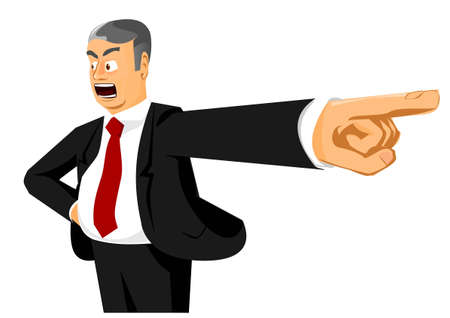 Angry boss saying: You are fired! Vector