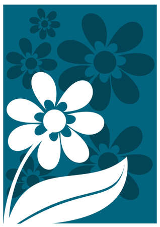 floral ornament: Floral ornament in blue and white