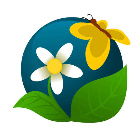 Chamomile and butterfly logoicon