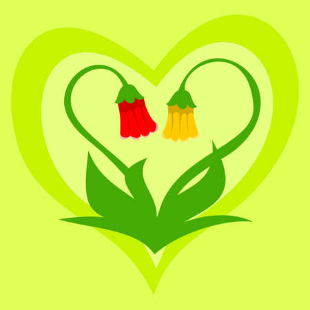 Pair of flowers forming heart shape Illustration