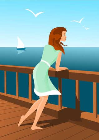 Beautiful woman on a seaside Illustration