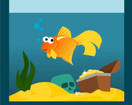 Goldfish in aquarium with treasures Illustration