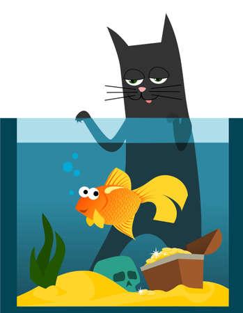 algen: Zwarte kat kijken naar goudvissen in aquarium Stock Illustratie